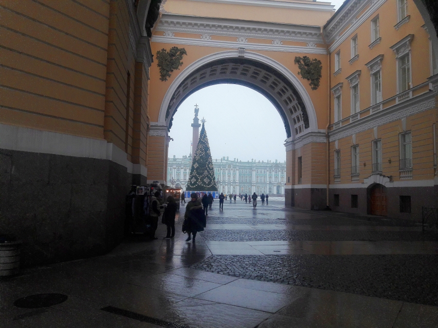 The drizzly day before New Year 2020 in Saint Petersburg.